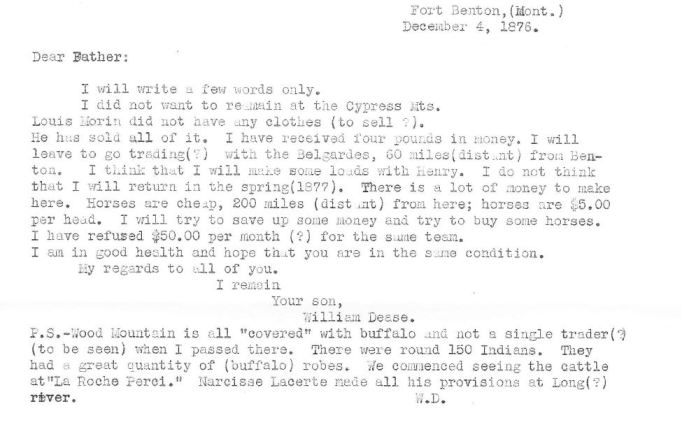 Transcript of letter, December 4, 1876, William Dease papers, 1876-1886, SC 612, Folder 1, Montana Historical Society Research Center, Archives
