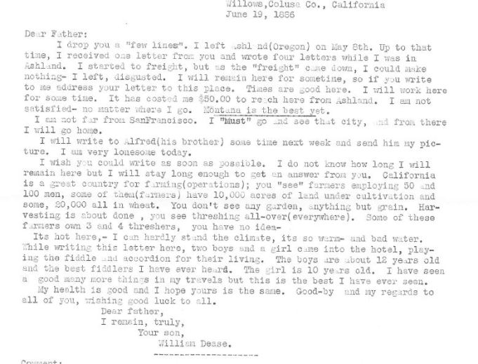 Transcript of letter, June 19, 1886, William Dease papers, 1876-1886, SC 612, Folder 1, Montana Historical Society Research Center, Archives