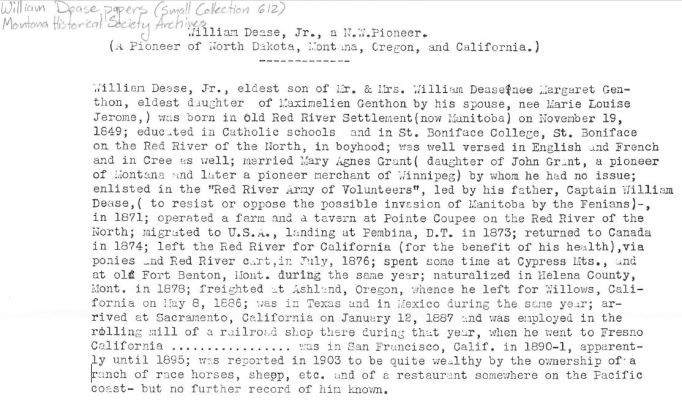 Biographical sketch by A.E. Dease, William Dease papers, 1876-1886, SC 612, Folder 1, Montana Historical Society Research Center, Archives